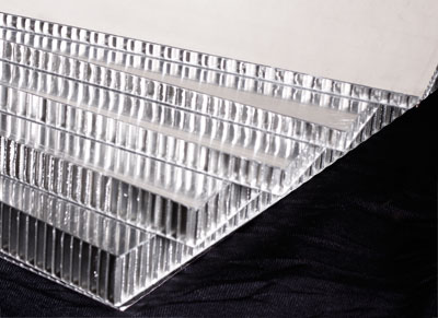 Image                          showing the various thicknesses of aluminum honeycomb                          panel available.